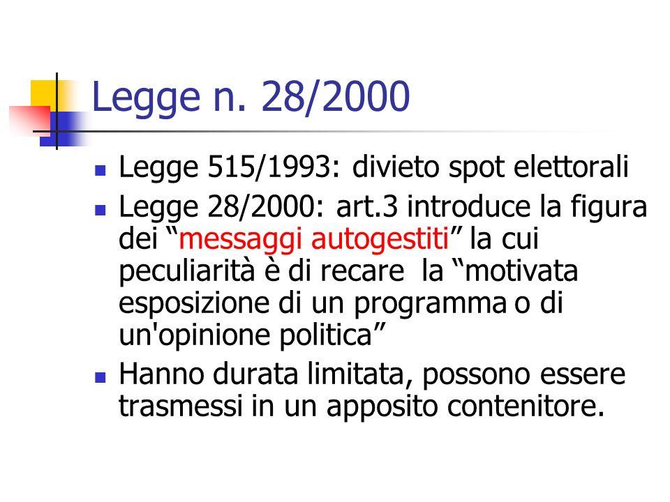 Legge n. 28/2000 Legge 515/1993: divieto spot elettorali Legge 28/2000: art.3 introduce la figura dei messaggi autogestiti la cui peculiarità è di rec