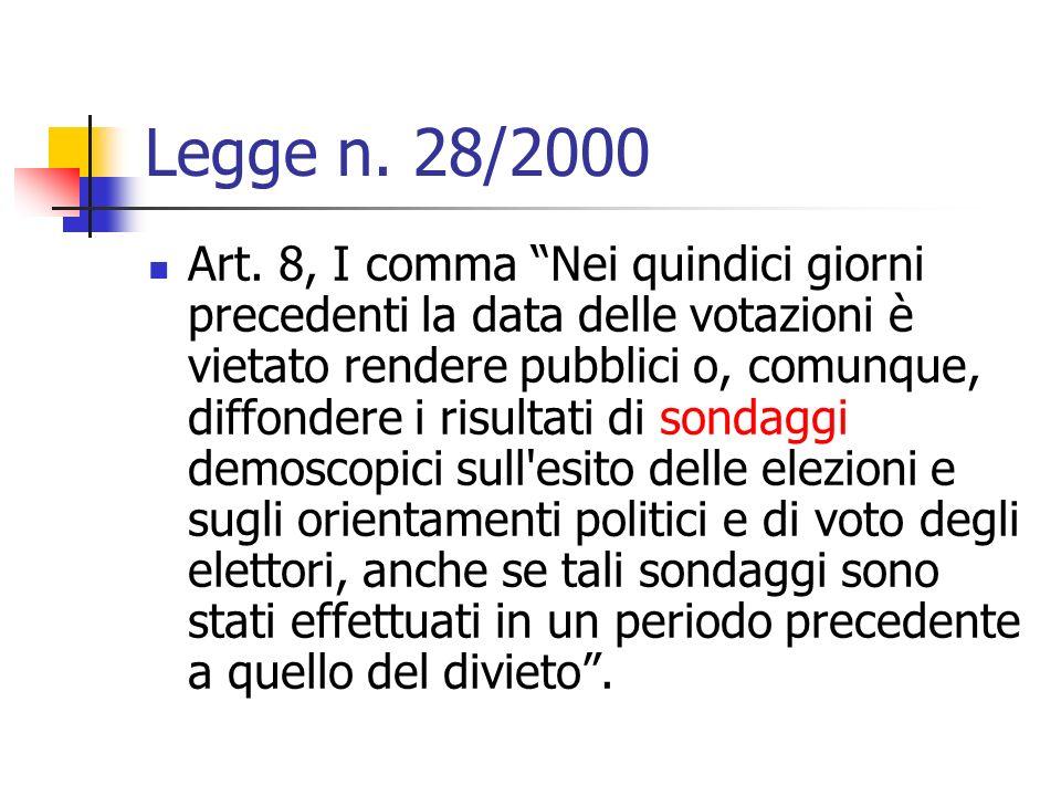 Legge n. 28/2000 Art. 8, I comma Nei quindici giorni precedenti la data delle votazioni è vietato rendere pubblici o, comunque, diffondere i risultati