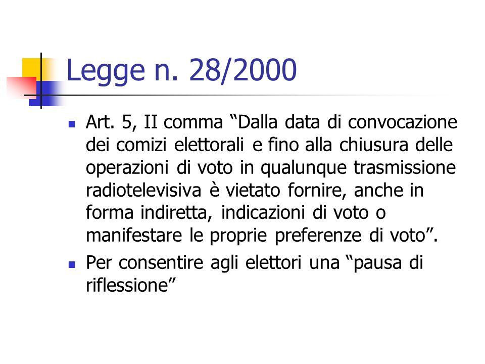 Legge n. 28/2000 Art. 5, II comma Dalla data di convocazione dei comizi elettorali e fino alla chiusura delle operazioni di voto in qualunque trasmiss