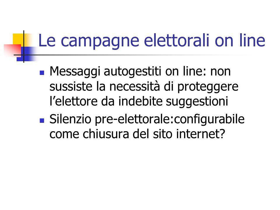Le campagne elettorali on line Messaggi autogestiti on line: non sussiste la necessità di proteggere lelettore da indebite suggestioni Silenzio pre-el