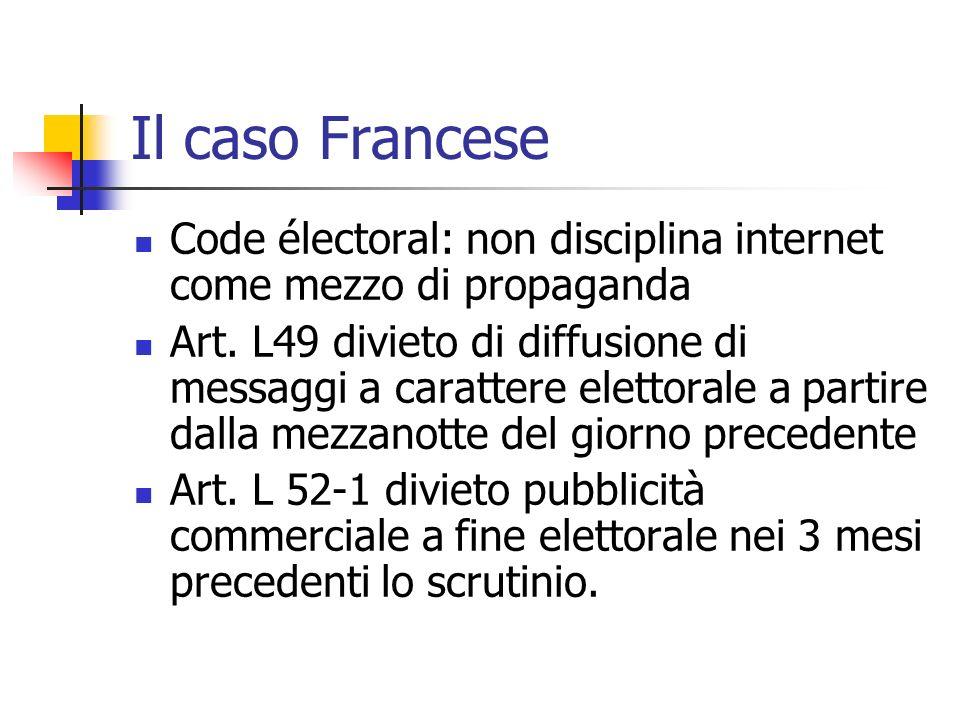 Il caso Francese Code électoral: non disciplina internet come mezzo di propaganda Art. L49 divieto di diffusione di messaggi a carattere elettorale a