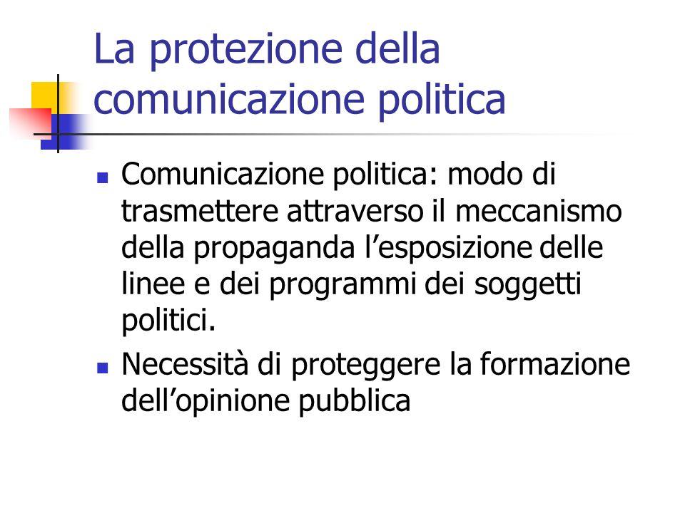 La protezione della comunicazione politica Comunicazione politica: modo di trasmettere attraverso il meccanismo della propaganda lesposizione delle li