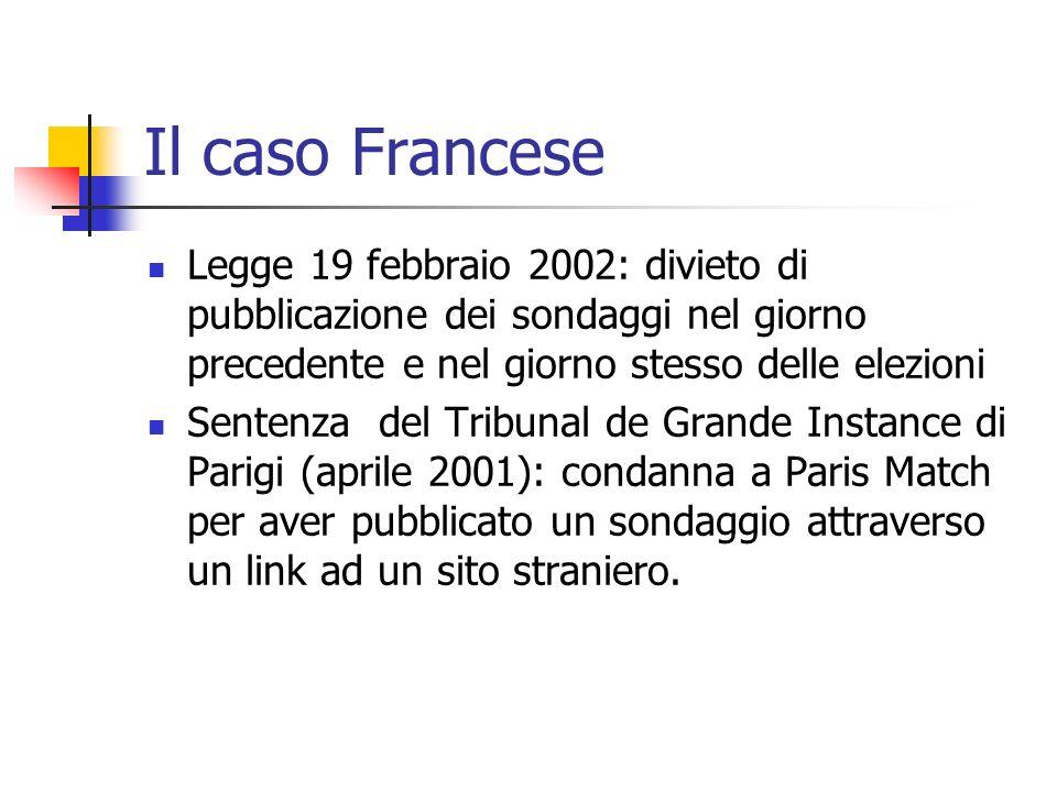 Il caso Francese Legge 19 febbraio 2002: divieto di pubblicazione dei sondaggi nel giorno precedente e nel giorno stesso delle elezioni Sentenza del T