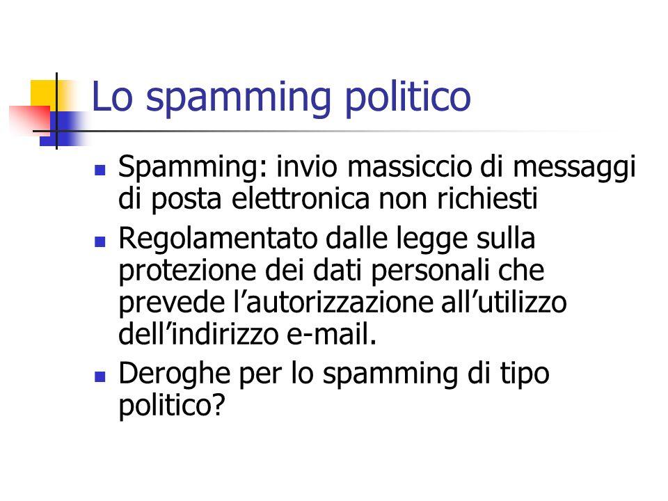 Lo spamming politico Spamming: invio massiccio di messaggi di posta elettronica non richiesti Regolamentato dalle legge sulla protezione dei dati pers