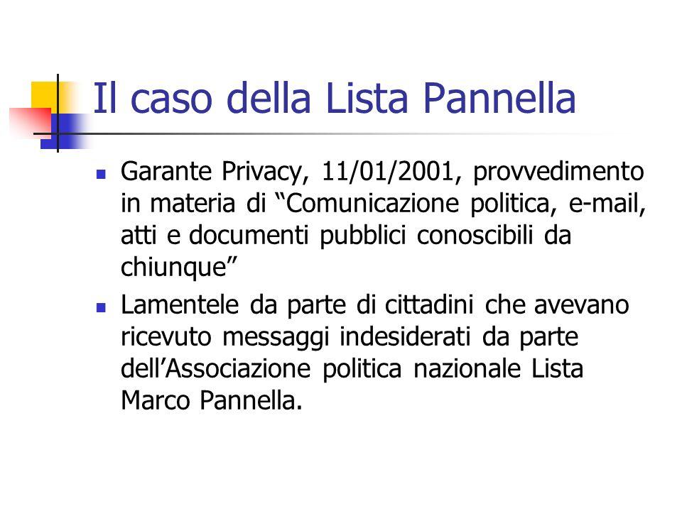 Il caso della Lista Pannella Garante Privacy, 11/01/2001, provvedimento in materia di Comunicazione politica, e-mail, atti e documenti pubblici conosc