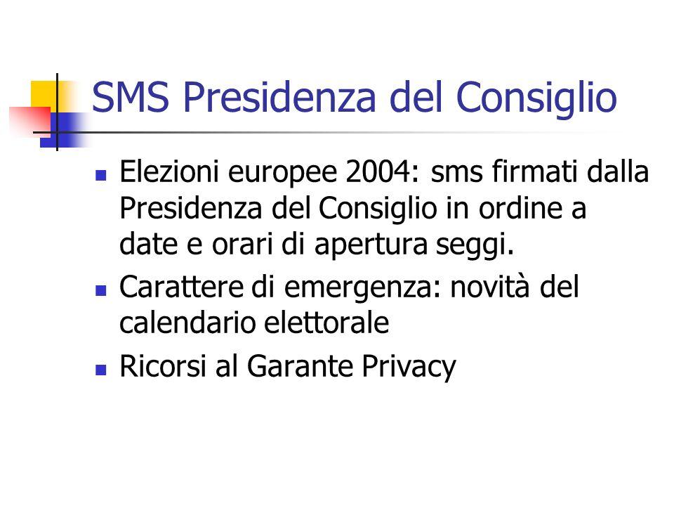 SMS Presidenza del Consiglio Elezioni europee 2004: sms firmati dalla Presidenza del Consiglio in ordine a date e orari di apertura seggi. Carattere d
