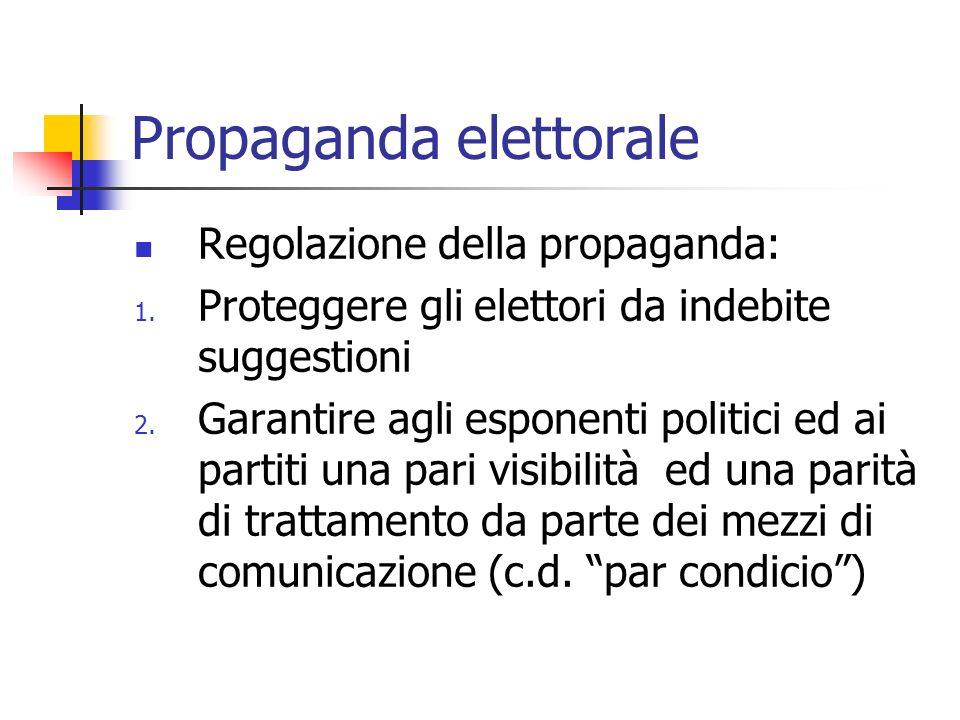 Propaganda elettorale Regolazione della propaganda: 1. Proteggere gli elettori da indebite suggestioni 2. Garantire agli esponenti politici ed ai part