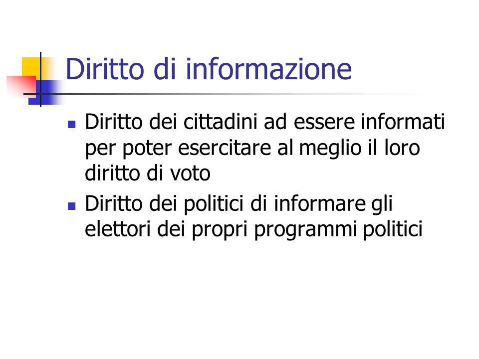 Diritto di informazione Diritto dei cittadini ad essere informati per poter esercitare al meglio il loro diritto di voto Diritto dei politici di infor