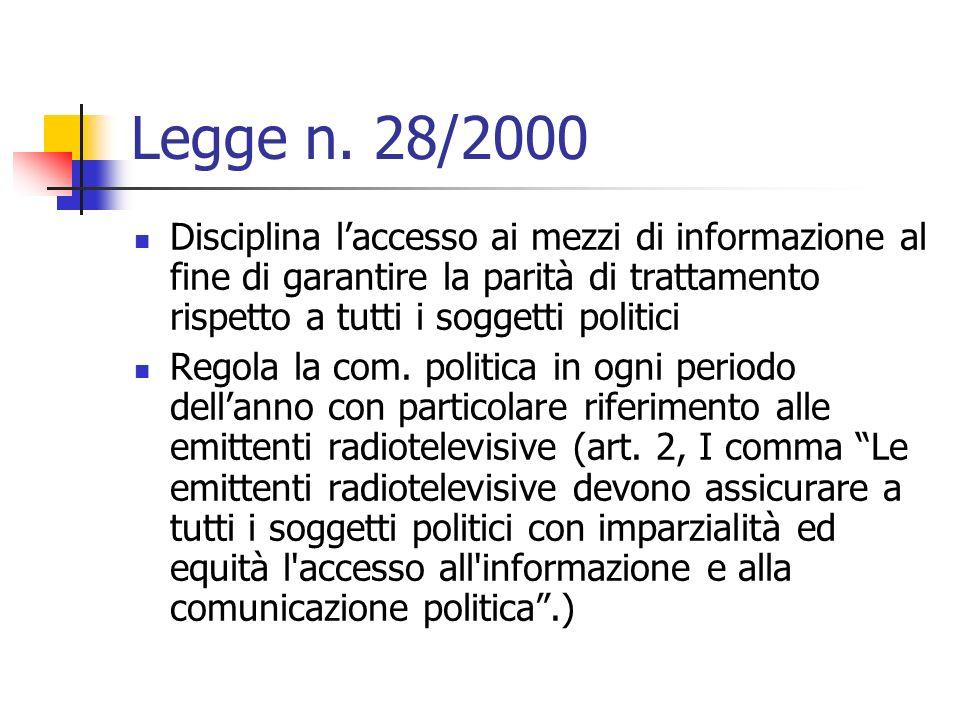 Legge n. 28/2000 Disciplina laccesso ai mezzi di informazione al fine di garantire la parità di trattamento rispetto a tutti i soggetti politici Regol