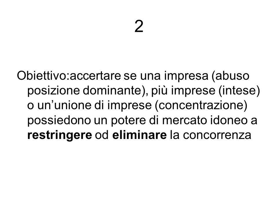2 Obiettivo:accertare se una impresa (abuso posizione dominante), più imprese (intese) o ununione di imprese (concentrazione) possiedono un potere di