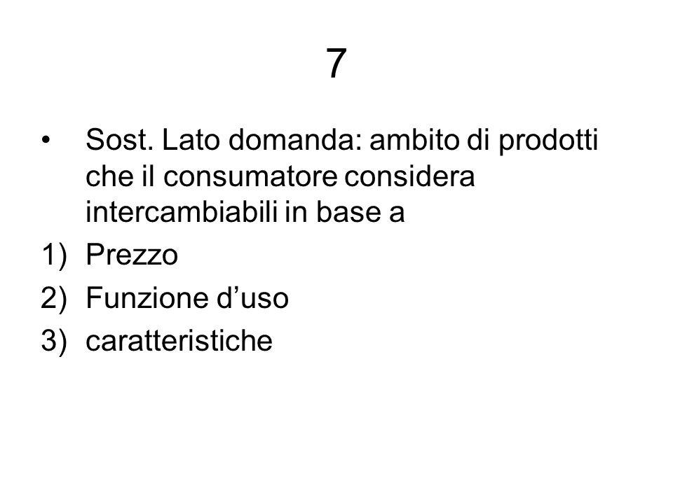 7 Sost. Lato domanda: ambito di prodotti che il consumatore considera intercambiabili in base a 1)Prezzo 2)Funzione duso 3)caratteristiche