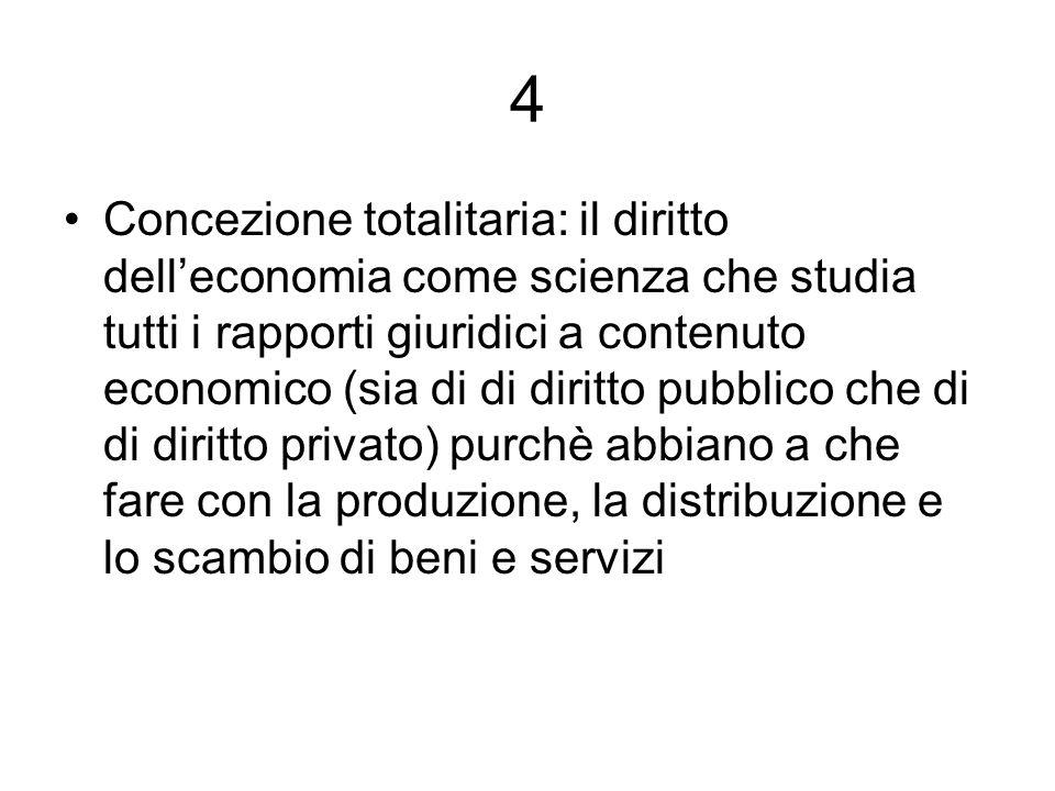 4 Concezione totalitaria: il diritto delleconomia come scienza che studia tutti i rapporti giuridici a contenuto economico (sia di di diritto pubblico