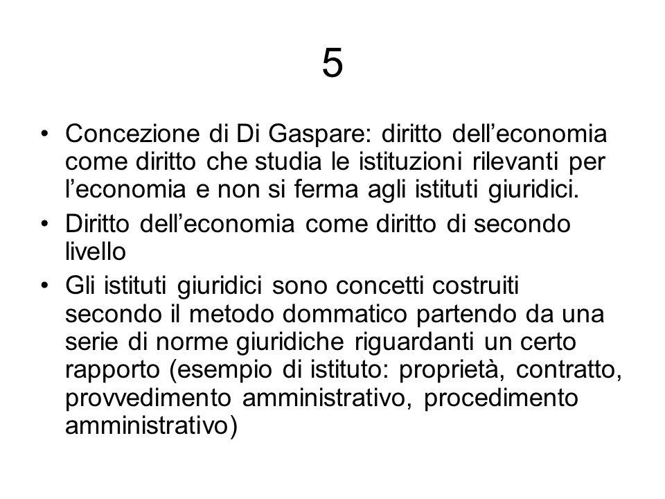 5 Concezione di Di Gaspare: diritto delleconomia come diritto che studia le istituzioni rilevanti per leconomia e non si ferma agli istituti giuridici