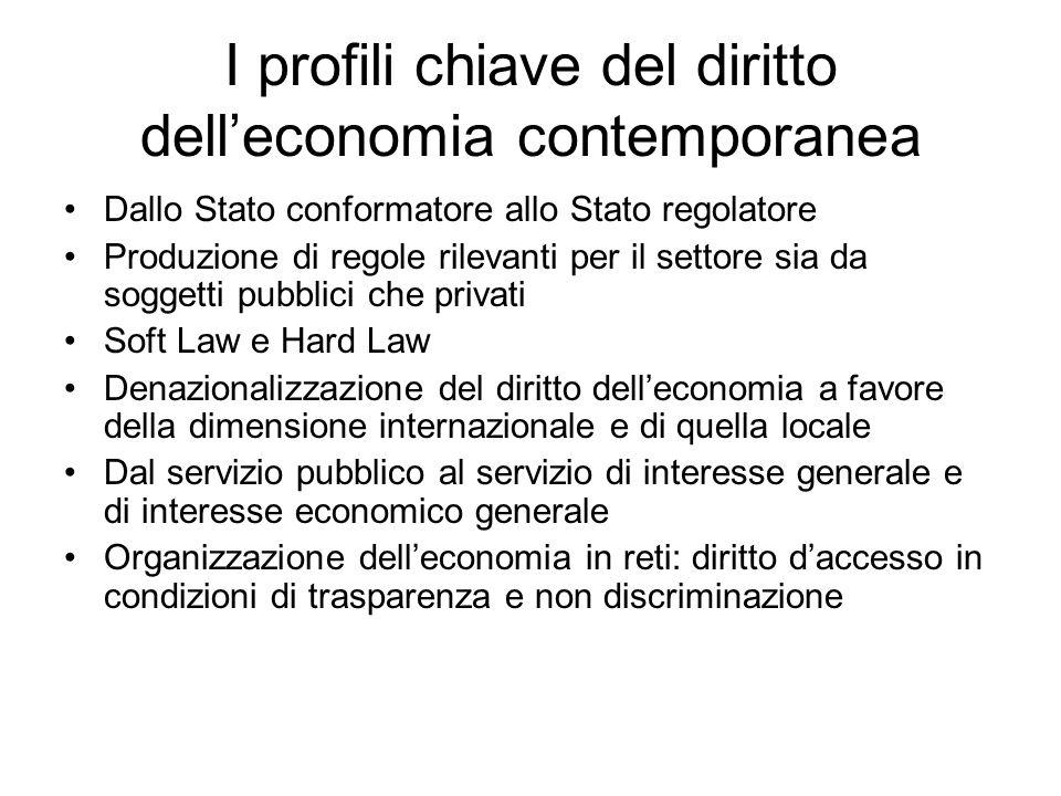 I profili chiave del diritto delleconomia contemporanea Dallo Stato conformatore allo Stato regolatore Produzione di regole rilevanti per il settore s