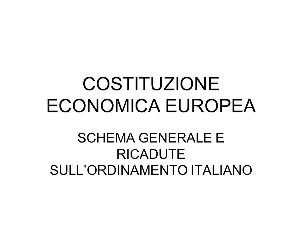 COSTITUZIONE ECONOMICA EUROPEA SCHEMA GENERALE E RICADUTE SULLORDINAMENTO ITALIANO