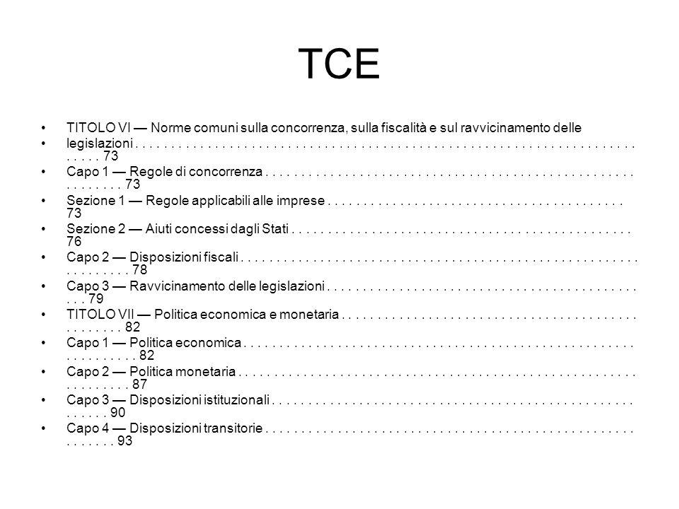 TCE TITOLO VI Norme comuni sulla concorrenza, sulla fiscalità e sul ravvicinamento delle legislazioni.................................................
