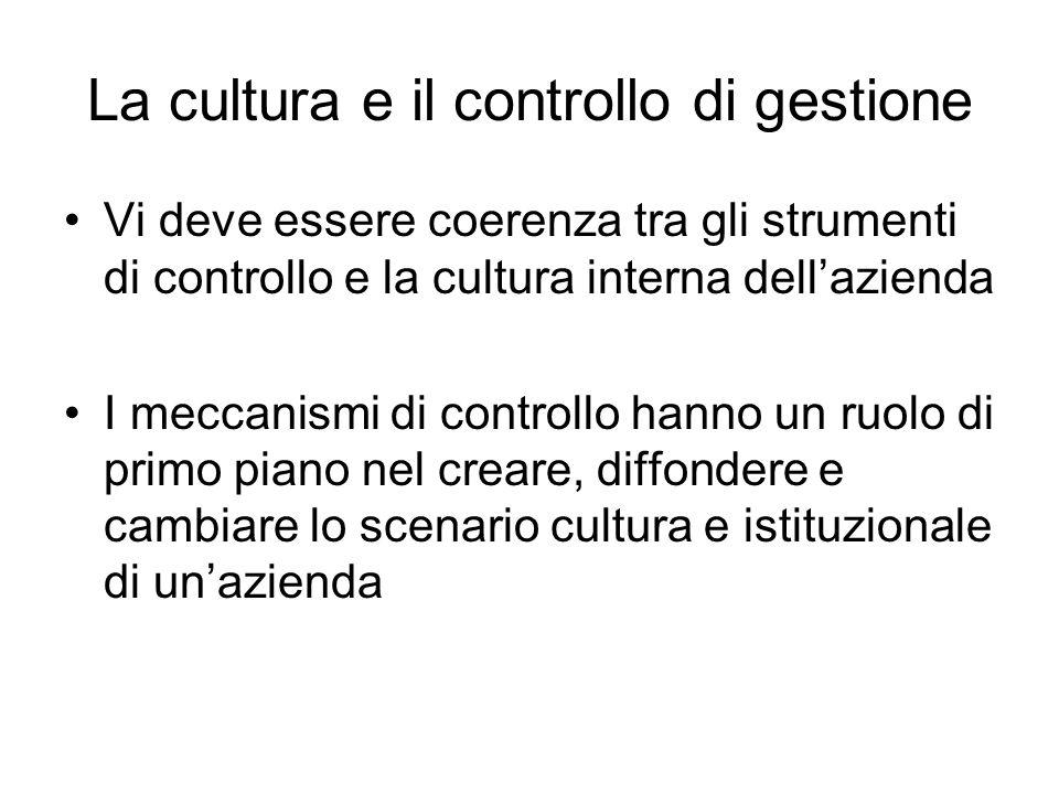 La cultura e il controllo di gestione Vi deve essere coerenza tra gli strumenti di controllo e la cultura interna dellazienda I meccanismi di controll