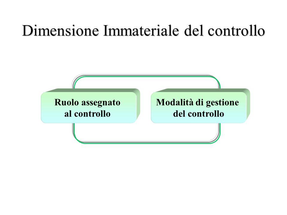 Dimensione Immateriale del controllo Ruolo assegnato al controllo Modalità di gestione del controllo