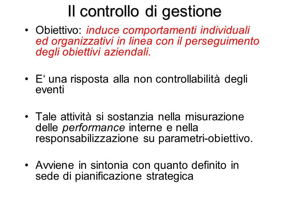 Il controllo di gestione Obiettivo: induce comportamenti individuali ed organizzativi in linea con il perseguimento degli obiettivi aziendali. E una r