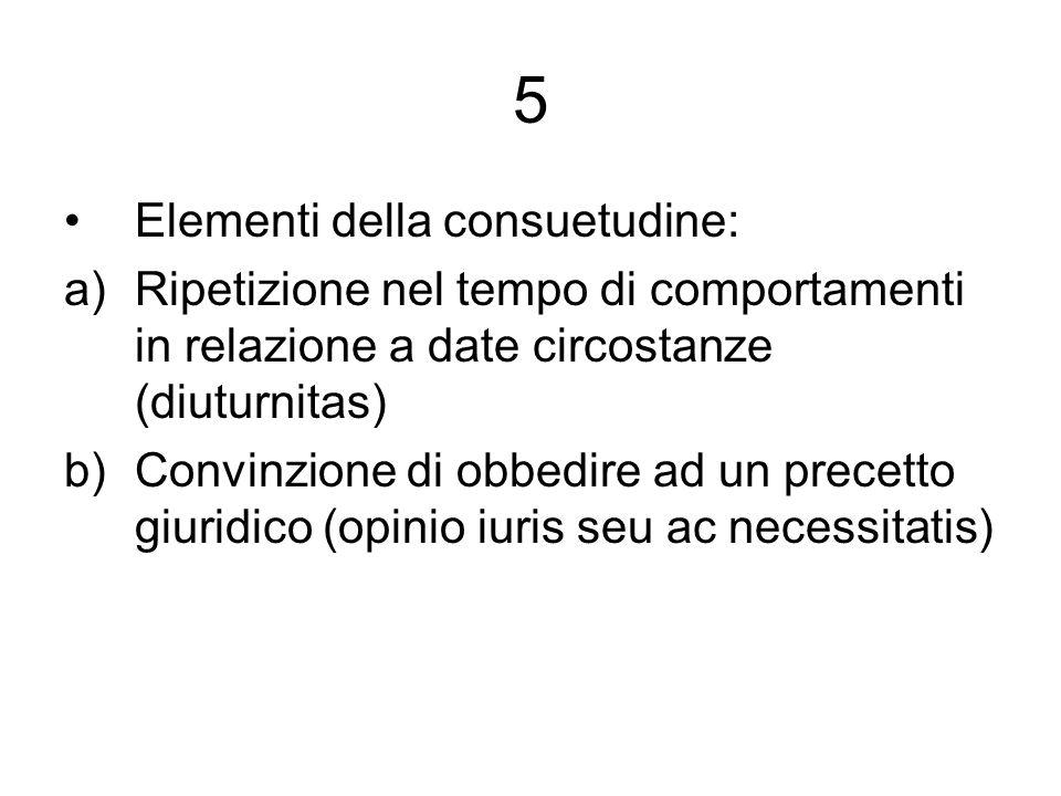5 Elementi della consuetudine: a)Ripetizione nel tempo di comportamenti in relazione a date circostanze (diuturnitas) b)Convinzione di obbedire ad un