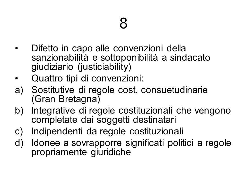 8 Difetto in capo alle convenzioni della sanzionabilità e sottoponibilità a sindacato giudiziario (justiciability) Quattro tipi di convenzioni: a)Sost