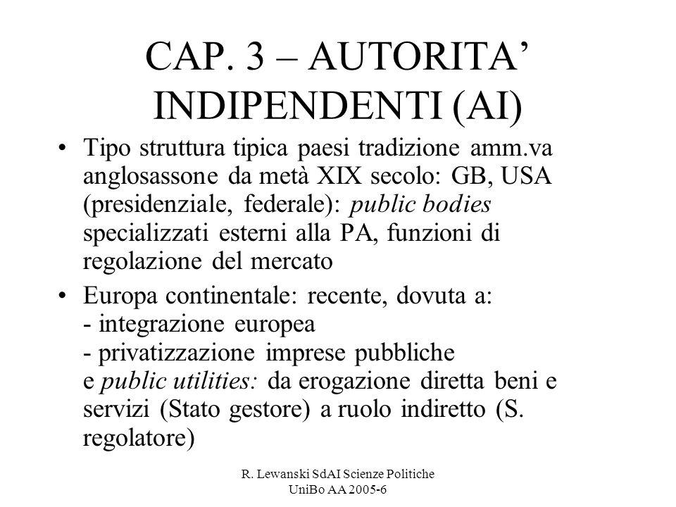 R. Lewanski SdAI Scienze Politiche UniBo AA 2005-6 CAP. 3 – AUTORITA INDIPENDENTI (AI) Tipo struttura tipica paesi tradizione amm.va anglosassone da m