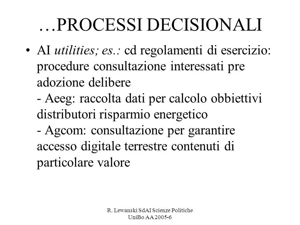 R. Lewanski SdAI Scienze Politiche UniBo AA 2005-6 …PROCESSI DECISIONALI AI utilities; es.: cd regolamenti di esercizio: procedure consultazione inter