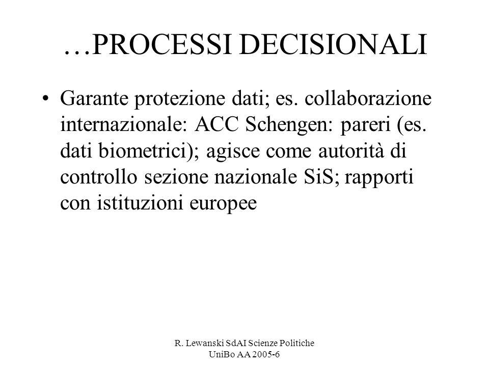 R. Lewanski SdAI Scienze Politiche UniBo AA 2005-6 …PROCESSI DECISIONALI Garante protezione dati; es. collaborazione internazionale: ACC Schengen: par