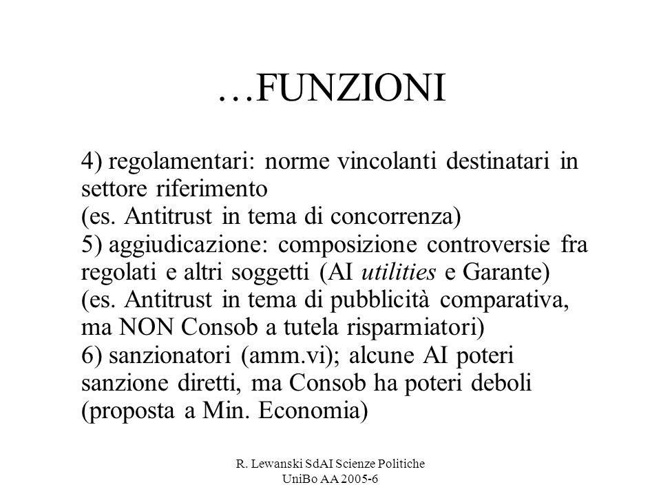 R. Lewanski SdAI Scienze Politiche UniBo AA 2005-6 …FUNZIONI 4) regolamentari: norme vincolanti destinatari in settore riferimento (es. Antitrust in t