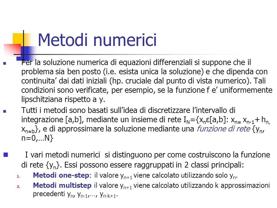 Metodi numerici Per la soluzione numerica di equazioni differenziali si suppone che il problema sia ben posto (i.e.