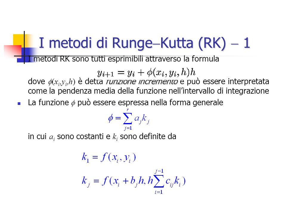 I metodi di Runge Kutta (RK) 1 I metodi RK sono tutti esprimibili attraverso la formula funzione incremento dove (x i,y i,h) è detta funzione incremento e può essere interpretata come la pendenza media della funzione nellintervallo di integrazione La funzione può essere espressa nella forma generale in cui a i sono costanti e k i sono definite da