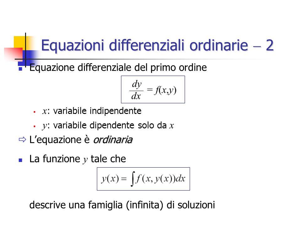 Equazioni differenziali ordinarie 2 Equazione differenziale del primo ordine x : variabile indipendente y : variabile dipendente solo da x ordinaria Lequazione è ordinaria La funzione y tale che descrive una famiglia (infinita) di soluzioni = f(x,y) dx dy