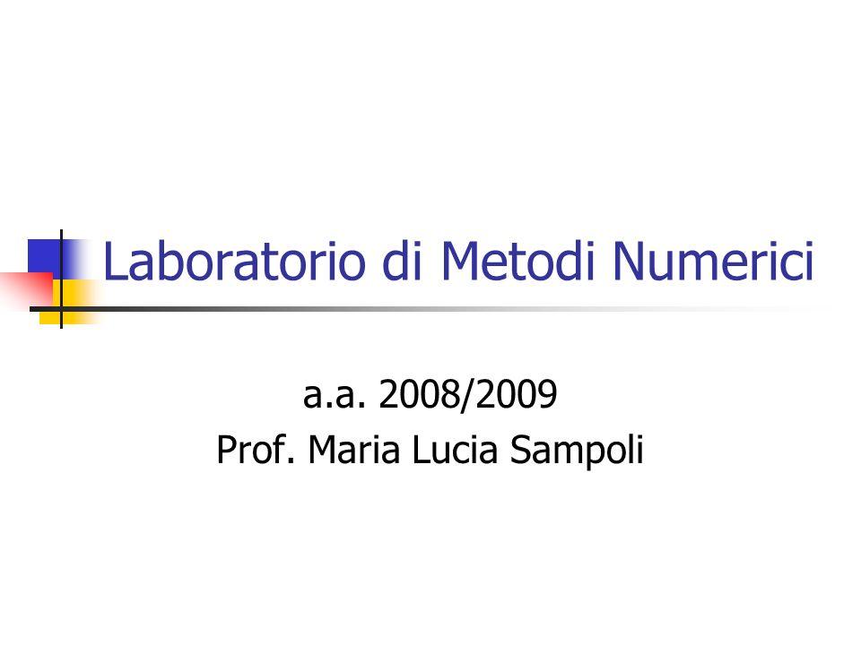 Laboratorio di Metodi Numerici a.a. 2008/2009 Prof. Maria Lucia Sampoli