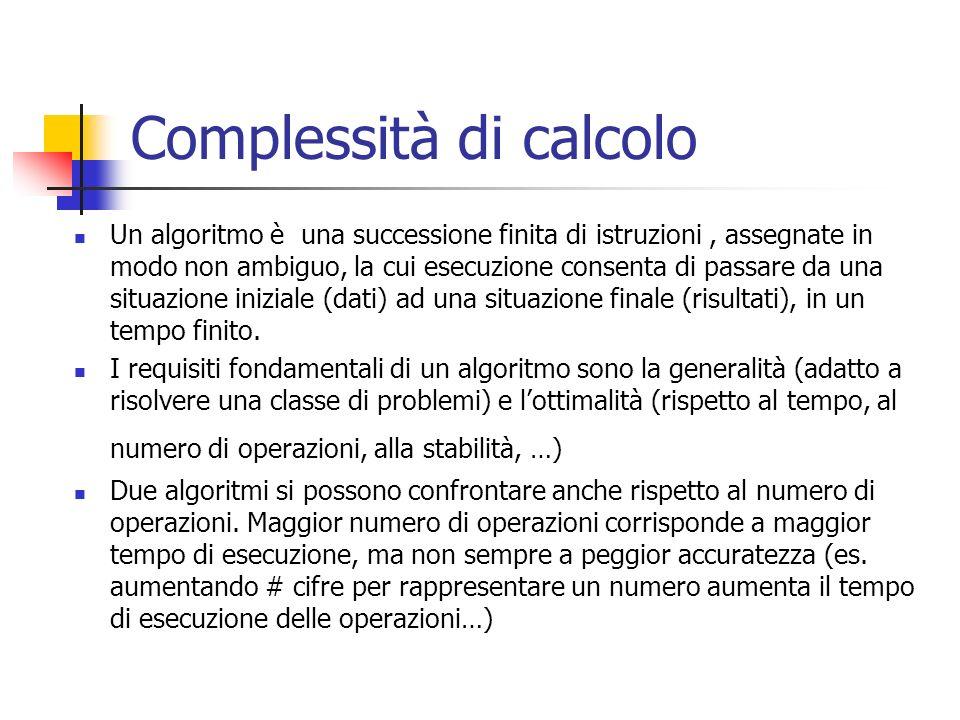 Complessità di calcolo Un algoritmo è una successione finita di istruzioni, assegnate in modo non ambiguo, la cui esecuzione consenta di passare da una situazione iniziale (dati) ad una situazione finale (risultati), in un tempo finito.