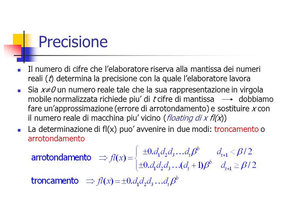 Precisione Il numero di cifre che lelaboratore riserva alla mantissa dei numeri reali (t) determina la precisione con la quale lelaboratore lavora Sia x0 un numero reale tale che la sua rappresentazione in virgola mobile normalizzata richiede piu di t cifre di mantissa dobbiamo fare unapprossimazione (errore di arrotondamento) e sostituire x con il numero reale di macchina piu vicino (floating di x fl(x)) La determinazione di fl(x) puo avvenire in due modi: troncamento o arrotondamento