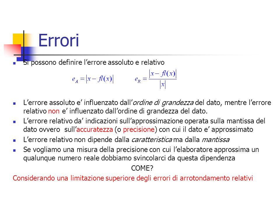 Errori Si possono definire lerrore assoluto e relativo Lerrore assoluto e influenzato dallordine di grandezza del dato, mentre lerrore relativo non e influenzato dallordine di grandezza del dato.