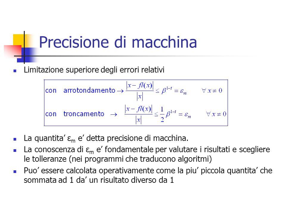 Precisione di macchina Limitazione superiore degli errori relativi La quantita ε m e detta precisione di macchina.