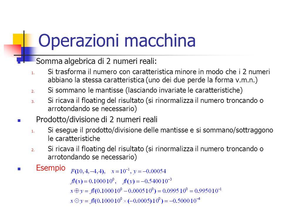 Operazioni macchina Somma algebrica di 2 numeri reali: 1.
