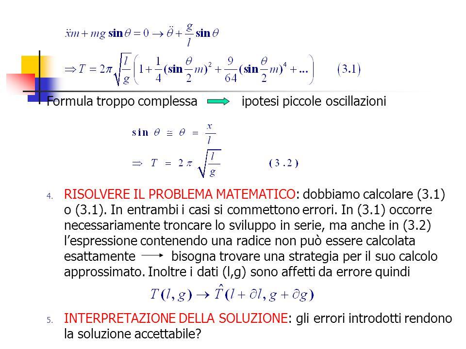 Fonti di errore In ognuno dei passi 2.3. e 4. si introducono degli errori.