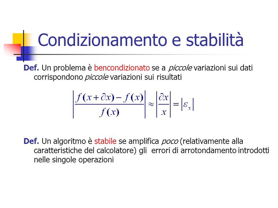 Esempi Malcondizionamento : Instabilità: calcolo per x=-9 sommando fino al 23-esimo termine, con la seconda espressione O.K., mentre con la prima si ottiene un risultato negativo!