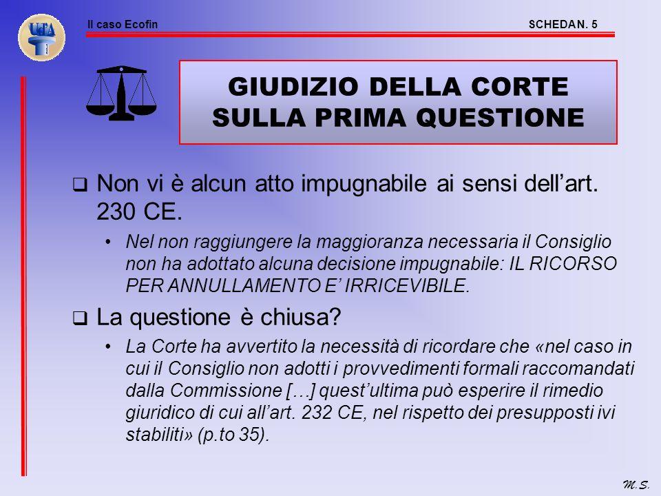 Il caso EcofinSCHEDA N. 4 M.S. PRIMA QUESTIONE: ANNULLAMENTO DELLA DECISIONE DI NON ADOTTARE Argomenti del Consiglio Il ricorso è irricevibile in quan