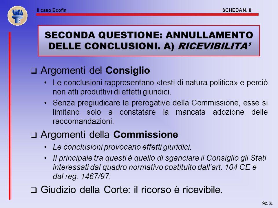 Il caso EcofinSCHEDA N. 7 M.S. ESISTE UN OBBLIGO GIURIDICO DEL CONSIGLIO? Cosa dice il Trattato? Il Consiglio «può rendere pubbliche» le raccomandazio