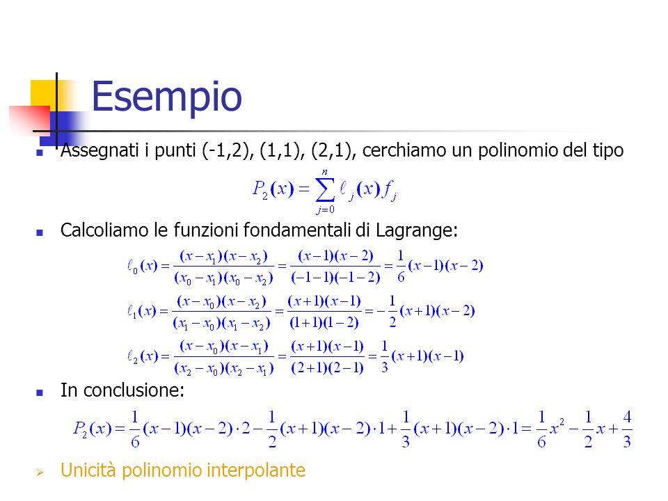 Esempio Assegnati i punti (-1,2), (1,1), (2,1), cerchiamo un polinomio del tipo Calcoliamo le funzioni fondamentali di Lagrange: In conclusione: Unicità polinomio interpolante
