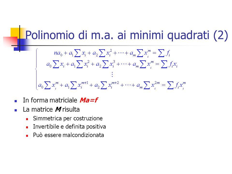 Polinomio di m.a. ai minimi quadrati (2) In forma matriciale Ma=f La matrice M risulta Simmetrica per costruzione Invertibile e definita positiva Può