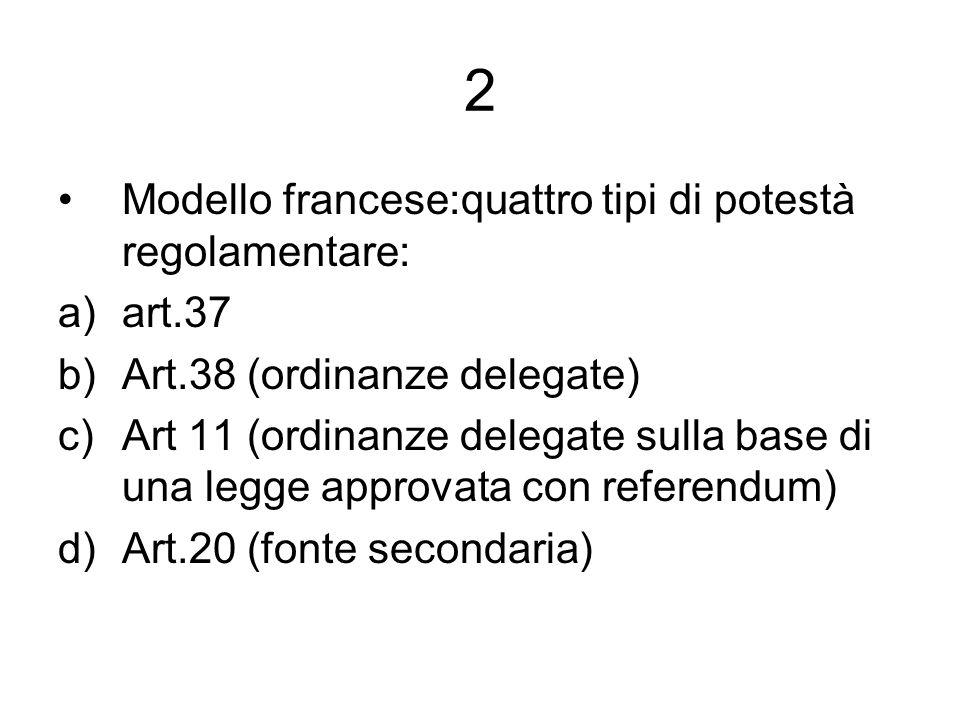 2 Modello francese:quattro tipi di potestà regolamentare: a)art.37 b)Art.38 (ordinanze delegate) c)Art 11 (ordinanze delegate sulla base di una legge approvata con referendum) d)Art.20 (fonte secondaria)