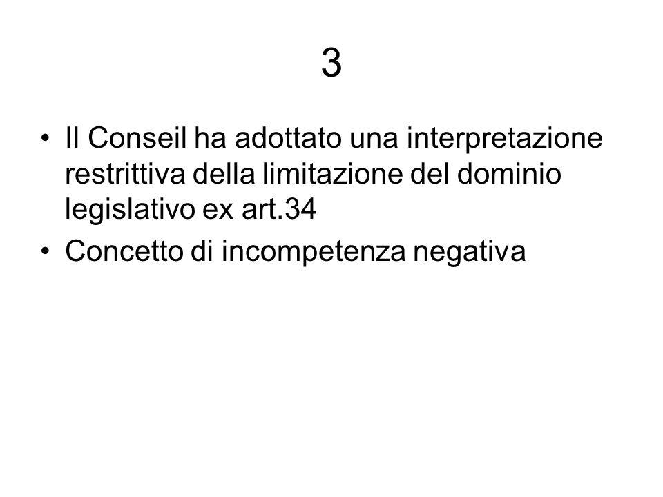 3 Il Conseil ha adottato una interpretazione restrittiva della limitazione del dominio legislativo ex art.34 Concetto di incompetenza negativa