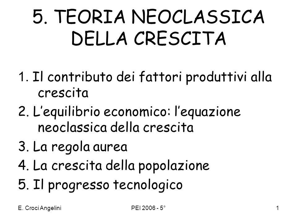 E.Croci AngeliniPEI 2006 - 5°1 5. TEORIA NEOCLASSICA DELLA CRESCITA 1.