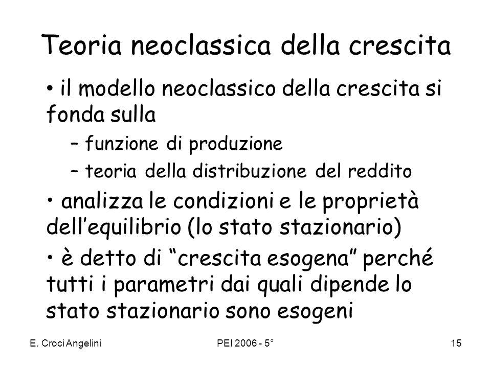 E. Croci AngeliniPEI 2006 - 5°14 La crescita del PIL pro capite Come si misura: –Laggregato: il prodotto interno lordo –Lunità di misura: valori medi