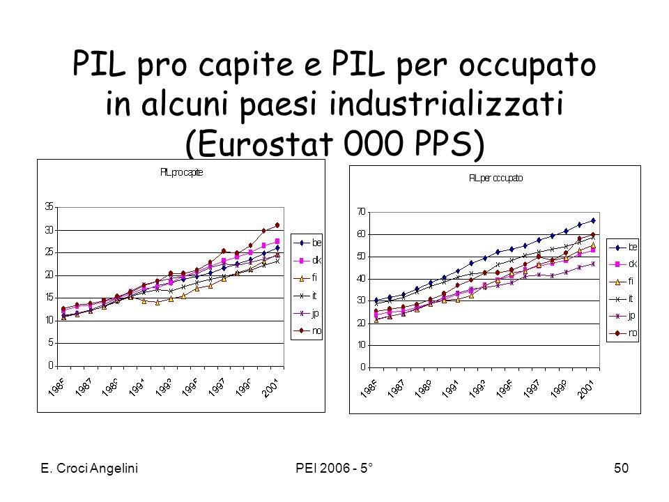 E. Croci AngeliniPEI 2006 - 5°49 Crescita e lavoro effettivo Lintroduzione del lavoro effettivo (L·E) o lavoro in unità di efficienza - anziché in num
