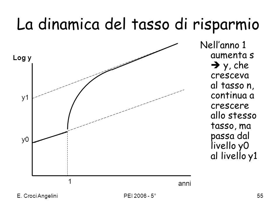 E. Croci AngeliniPEI 2006 - 5°54 Il modello di Solow indica che: i paesi che condividono la stessa tecnologia (hanno la stessa funzione di produzione)